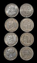 English Milled Coins - Victoria - 1852, 1887, 1889 Large Head, 1897 - Shilling Group [4]