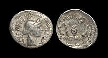 Ancient Roman Imperial Coins - Julius Caesar - Sacrificial Implements Denarius