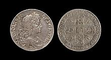 English Milled Coins - Charles II - 1673 - Crown