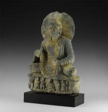 Gandharan Seated Buddha Statuette