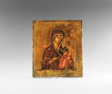 Post Medieval Russian Icon of Iverskaya Virgin and Child
