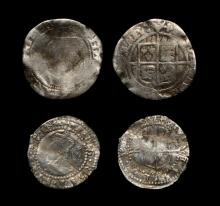 English Tudor Coins - Elizabeth I - Altered Halfgroat to Threepence and Penny to Three Halfpence Group [2]