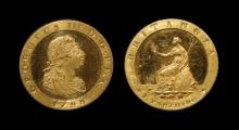 English Milled Coins - George III - 1798 - Pattern Gilt Copper Farthing