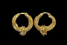 Eastern Greek Gold Granulated Earrings