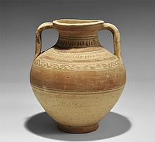 Greek Polychrome Amphora with Vine Leaves