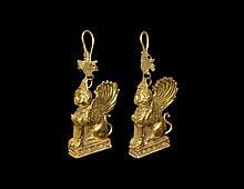Greek Gold Sphinx Earrings