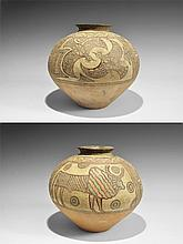 Indus Valley Mehrgarh Large Polychrome Storage Jar with Eagles and Lion