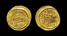 Ancient Byzantine Coins - Maurice Tiberius - Angel - Gold Solidus