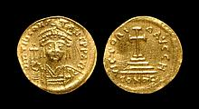 Ancient Byzantine Coins - Tiberius II Constantine - Cross-on-Steps Gold Solidus