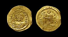 Ancient Byzantine Coins - Maurice Tiberius - Angel Gold Solidus
