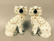 Pair of English Staffordshire Seated Spaniels