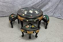 Asian Low Table with 4 Stools