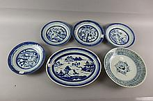 6 Asian Blue and White Plates