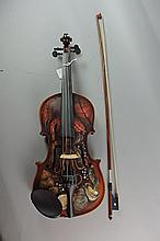 Hand Painted Violin With Bow