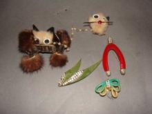 Whimsical Lot of Bakelite and Fur Pins Brooches