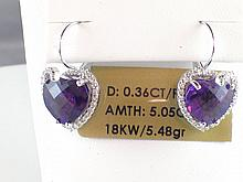 18k White Gold 5.05ct Heart Checkerboard Amethyst and Diamond Earrings