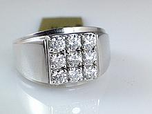 14k White Gold Men's 0.85ct Diamond Ring
