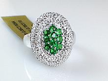 14k White Gold 0.70ct Tsavorite Garnet and Diamond Ring