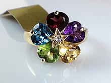14k Yellow Gold 5.00ct Heart Shape Multi-Colored Stone and Diamond Ring