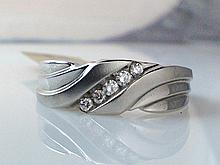 14k White Gold Men's 0.16ct Diamond Ring