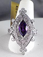 18k White Gold 0.86ct Amethyst and Diamond Ring