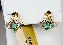 14k Yellow Gold 0.80ct Emerald and Diamond Earrings