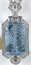14k White Gold 26.48ct Aquamarine and Diamond Pendant (Chain not included)