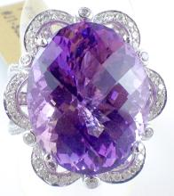 18k White Gold 16.40ct Amethyst and Diamond Ring
