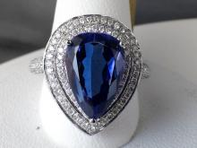 18k White Gold 4.87ct Pear Cut Tanzanite and Diamond Ring