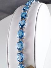 18k White Gold 41.76ct Oval Checkerboard Blue Topaz and Diamond Tennis Bracelet