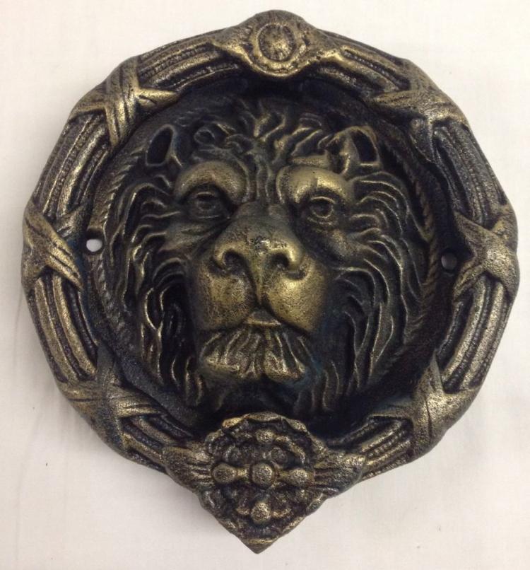 A large cast iron lion head door knocker 22cm diameter - Large lion head door knocker ...