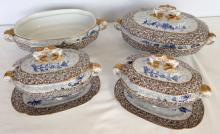 Victorian Worcester dinner ware c.1880's, Indian influence with elephant head handles. Comprising of 2 sauce tureens on feet with under plates and 2 larger serving dishes, one with lid (chip to lid).