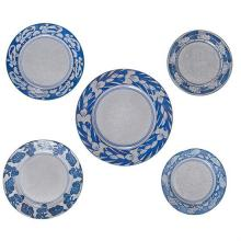 Dedham Potteryplates, group of five Dedham, MA blue and white glazed pottery impressed logos largest: 12