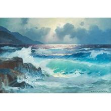 Alexander Dzigurski, (American, 1911-1995), Seascape, oil on canvas, 23.5
