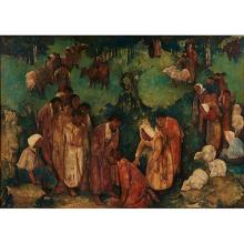 Willem Van Den Berg, (Dutch, 1886-1970), Christ Healing the Sick and Nausikaa (double sided), oil on board, 36