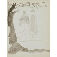 Reginald Marsh, (American, 1898-1954), Untitled (Couple Beside a Tree), ink and wash on paper, 11