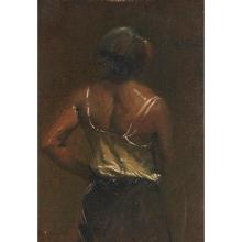 John White Alexander, (American, 1856-1915), Back of Female Figure, oil on canvas board, 12.75