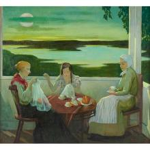 Gerald A. Frank, (American, 1888-1962), Three Women, oil on canvas laid to board, 36
