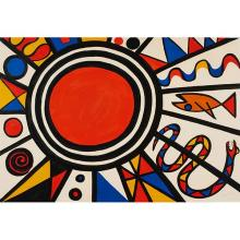 Alexander Calder, (American, 1898-1976), Sun, Snake and Fish, 1970, color lithograph, 26.5