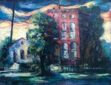 William Sylvester Carter, (American, 1909-1996), Bradbury, Red Building and White House, c. 1940, oil on canvas, 22