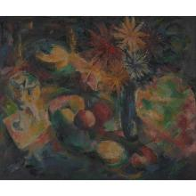 William Sylvester Carter, (American, 1909-1996), Still Life with Fruit and Vase of Flowers, c. 1940, oil on canvas, 25