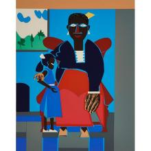 Romare Bearden, (American, 1911-1988), The Family (Mother and Child), color screenprint, 18