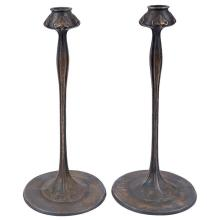 American Arts & Crafts, after a design by Robert Riddle Jarvie (1865-1941) candlesticks, pair 6