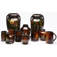 The Weller Pottery Company Louwelsa items, seven largest: 12.5