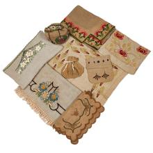 American Arts & Crafts embroidered linens, group of ten longest: 76