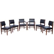 "Frank Lloyd Wright (1867-1959) for Heritage Henredon dining chairs, set of six: four sides and two arms armchairs: 23""w x 25""d 32""h;..."
