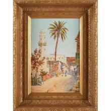 Louis Comfort Tiffany, (American, 1848-1933), View of Aswan, Egypt, watercolor, 10.5