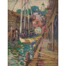 Kathryn Cherry, (American, 1880-1931), Gloucester, oil on canvas board, 13.75