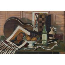 Francis De Erdely, (American/Hungarian, 1904-1959), Untitled (Guitar with Bottle and Fruit), oil on canvas, 24.5