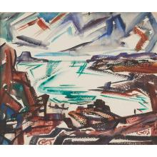 William C. Meyer, (American, 1905-1966), Modernist Landscape, watercolor, 15